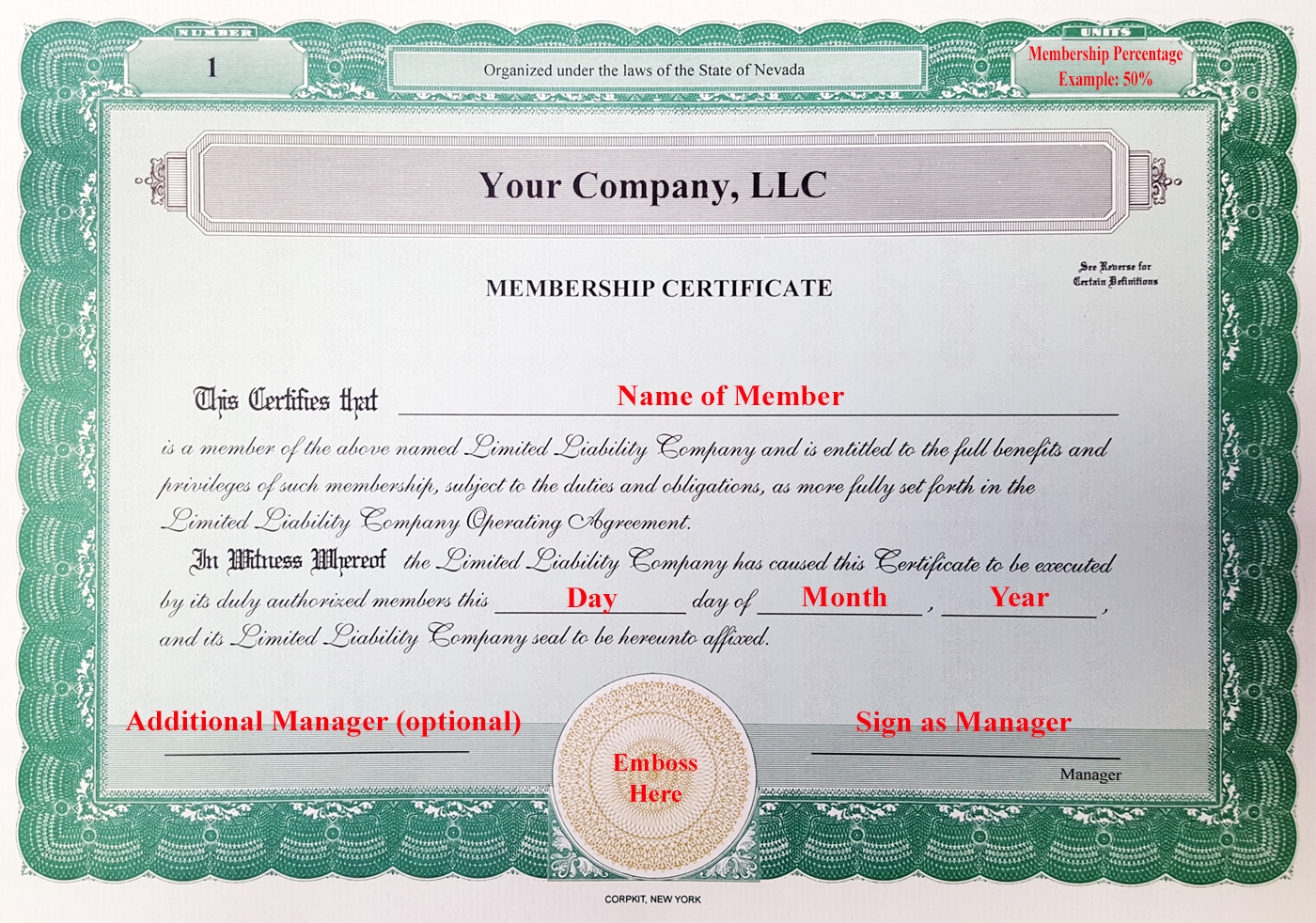 Laughlin associates inc setting up your corporate kit for Llc membership certificate template